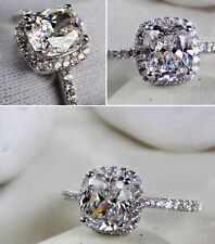14k sona 3ct diamond ring engagement proposal bridal VVS1 lab man made cushion