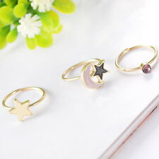 1Set 3pcs Fashion Womens Gold Plated Stars Moon Knuckle Ring Stack Rings