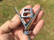 ~ V8 HOOD ORNAMENT METAL EMBLEM Chrome Badge *NEW suit FORD Hotrod Ratrod Custom