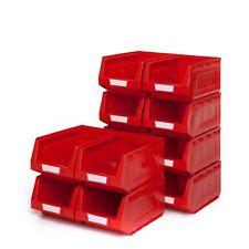 1 x rosso aperto sul davanti di stoccaggio in plastica rigida impilabile CONTENITORI Bin no3 medio