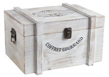 White Wooden French Storage Box Treasure Chest Shabby Nautical Style