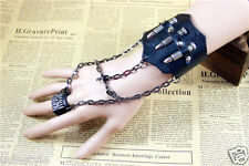 Black Hot Punk Rock Gothic Style Leather Bracelet w/Bullets Cosplay Wristband
