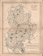 1860 HALL COUNTY MAP RAILWAYS - BEDFORDSHIRE, AMPTHILL, POTTEN, WOBURN, LUTON