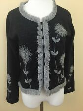 SAKS FIFTH AVENUE Folio Vintage Gray Wool Floral Cardigan Sz Large #2417
