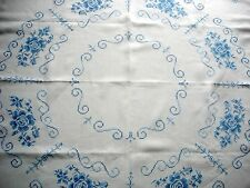 Vintage Hand Embroidered Cross Stitch Blue Floral Pattern White Linen Tablecloth