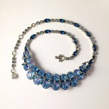 Stunning Vintage Choker Necklace SHERMAN Bold Ice Royal Blue Rhinestone Swarovsk