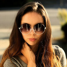 Oversized Round Sunglasses Women Black Silver Retro Vintage Fashion