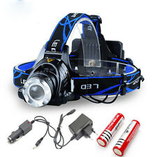 HEADLIGHT HEAD LIGHT LAMP ZOOMABLE 2000LM CREE XM-L T6 LED 2 X BATTERY+CHARGER