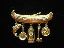 """JJ"" Jonette Jewelry Matte Gold Pewter 'CANOE with CAMPING Charms' Pin"