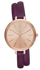NEW Michael Kors Women's Jaryn Plum Leather Double Wrap Strap Watch 38mm MK2576