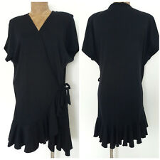 Black Wrap Dress Size Large High Low Ruffle Bathing Suit Coverup Mini Dotti