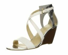 Enzo Angiolini Women's Mckinney Sandal Wedge Silver Leather 5.5M New / Display