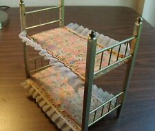 "Vintage Doll House Miniature Brass Metal Four Poster Bunk Bed Frame 6 1/2""long"