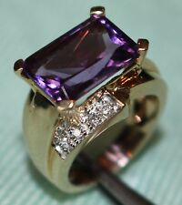 MODERN Emerald Cut AMETHYST & DIAMOND Ring in 14kt GOLD, Sizable 7, TRULY WOW!