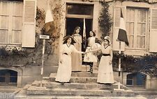 BK349 Carte Photo vintage card RPPC Femme woman fête nationale costume drapeaux