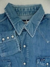 WRANGLER DENIM WESTERN SHIRT WHITE POPPERS EXTRA LONG TAILS XL BLUE LSHT330