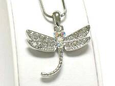 F1 Dragonfly Insect Crystal Pendant Chain NECKLACE White Gold Plating NEW
