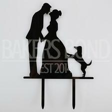 Mr & Mrs Pet Dog Acrylic Wedding Day Cake Topper Silhouette Vintage Bride