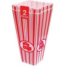 2 x 28cm Tall Popcorn Party Holders Cinema Sweet Movie Party Treat Candy Pot Tub