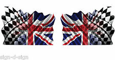 2 UNIQUE UNION JACK/CHEQUERED FLAG STICKERS GRAPHICS