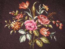 ANTIQUE Vtg. SET 2pc CHAIR Cover Completed Needlepoint Flower Bouquets-Hand Made