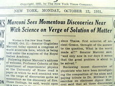 1931 NY Times newspaper Public reveal of SCIENCE of the COMPOSITION of the ATOM