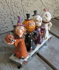 Dancing Witch/Pumpkin/Skeleton/Mummy STATUE*Primitive Halloween Whimsical Decor