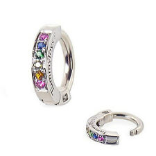 Navel Ring TummyToys Sterling Silver Rainbow Cz Comfort Fit Belly Button Ring
