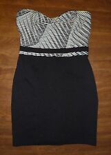 SILENCE + NOISE/ANTHROPOLOGIE - STRETCH-KNIT BODY-CON STRAPLESS DRESS - MISSES M