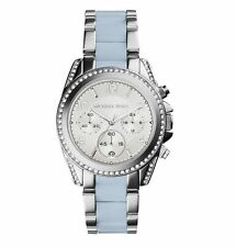 **NEW* LADIES MICHAEL KORS BLUE CRYSTAL BLAIR 2 TONE WATCH MK6137 -RRP £259