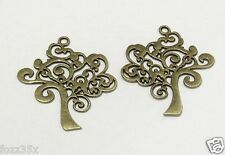 4 x bronze antique arbre de vie charmes - 42 x 37mm-Swirly conte tree-ts309