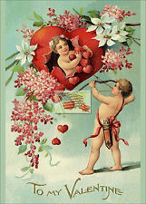 REPRINT PICTURE of old postcard TO MY VALENTINE BIG AND LITTLE HEARTS 5x7