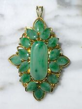 LG ANTIQUE CHINESE GRADE A BRIGHT GREEN JADEITE JADE PENDANT BROOCH 14K Y GOLD