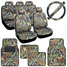Forest Camo Seat Covers Interior for Auto Car Carpet Mats Steering Wheel Set