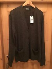 NEW MENS GENUINE RALPH LAUREN MERINO WOOL BUTTON-FRONT GREY CARDIGAN Size XL