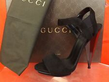 NIB GUCCI LIBERTY BLACK SUEDE MIRROR HEEL PLATFORM SANDALS 38.5 8.5  #347558