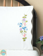 Embroidery Kit ~ Design Works Bluebirdss & Flowers PILLOWCASE PAIR #T232041