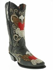 new womens black western cowboy boots leather red heart flower cowgirl size 6.5
