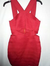 New Express $120 Red Cut Out Tiered Bandage Dress Bodycon Stretch Club Medium M
