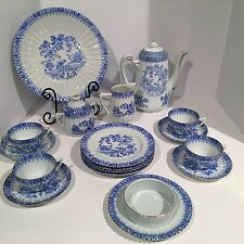 Vtg Tea Set for 4 China Blau BAVARIA, SCHUMANN ARZBERG,TUPPACK Teapot Blue/White