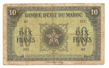 1-5-1943 Banque Detat Du Maroc Dix Francs Banknote--No Pin Holes nor Tears !!