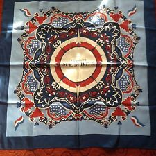 "Vineyard Vines 35""x35"" silk scarf compass logo blue red white Founding Member"