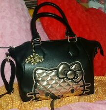 hello kitty loungefly black gold crossbody handbag