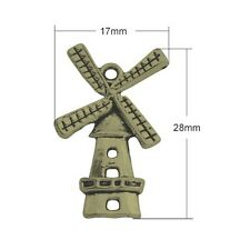 10 x Steampunk Antique Bronze Tibetan 28mm Charms Pendants (Windmill) ZX01190