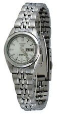 Seiko 5 SYMA27 Women's Stainless Steel Silver Dial Day Date Automatic Watch