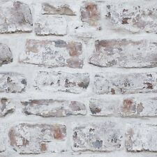Arthouse Realistic Whitewashed Old Brick Wall Wallpaper Rustic Country 671100