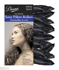 "DIANE By Fromm #5042 SATIN SOFT BLACK  1""_ PILLOW  HAIR ROLLERS,10-PK"