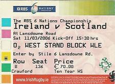 IRELAND v SCOTLAND 11 Mar 2006 RUGBY TICKET TRIPLE CROWN SEASON FOR IRELAND