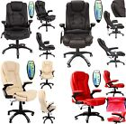 NEW LEATHER HIGH BACK RECLINING OFFICE / DESK CHAIR WITH MASSAGE AND HEAT STUDY