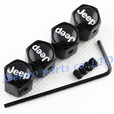 Anti-theft Black Metal Car Wheel Tyre Tire Stem Air Valve Cap For Jeep White DWG